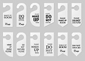 istock Door hangers for hotel room. Set of white label hanger with text for hotel or resort. Template, mockup with text Do not disturb and Make up room. Vector illustration for promotion, sale, decoration, covering 1282416763