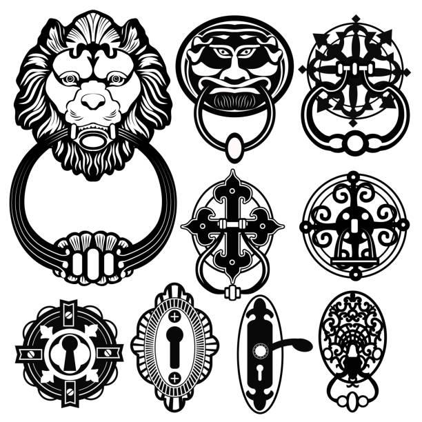 tür sie schläger - türklopfer stock-grafiken, -clipart, -cartoons und -symbole