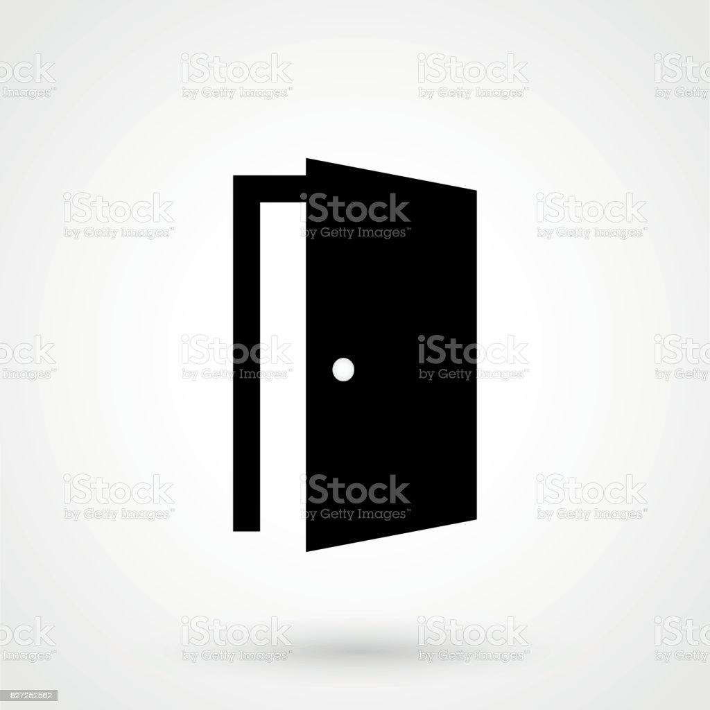 Tür-Symbol im trendigen flachen Stil isoliert auf grauem Hintergrund. Offene Tür-symbol Lizenzfreies türsymbol im trendigen flachen stil isoliert auf grauem hintergrund offene türsymbol stock vektor art und mehr bilder von abstrakt