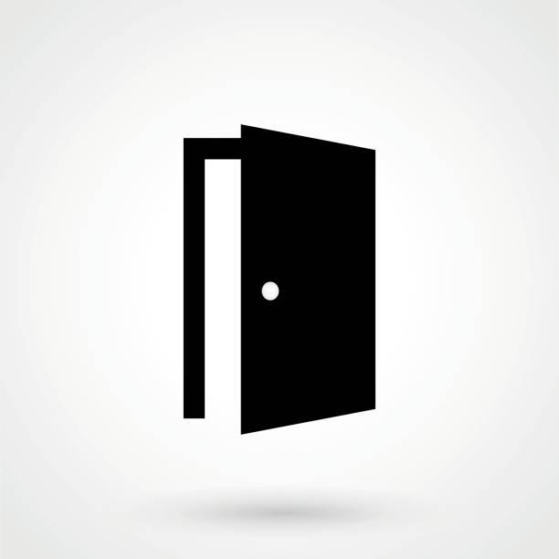 ilustrações, clipart, desenhos animados e ícones de ícone de porta no elegante estilo plano isolado no fundo cinza. símbolo de porta aberta - aberto