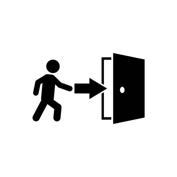 illustrazioni stock, clip art, cartoni animati e icone di tendenza di door icon, logo isolated on white background - entrare