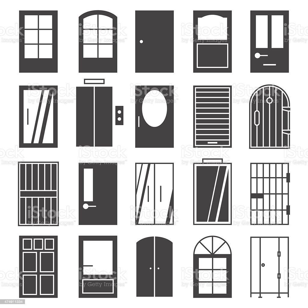 Door Icon Set Stock Vector Art Amp More Images Of 2015