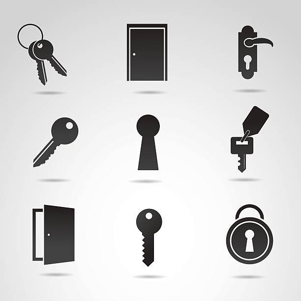 Door icon set. Vector art: door, keys and door lockers. house key stock illustrations