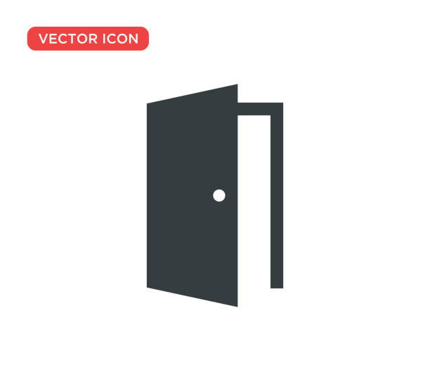 Door Icon Vector Illustration Design Door Icon Vector Illustration Design bathroom borders stock illustrations