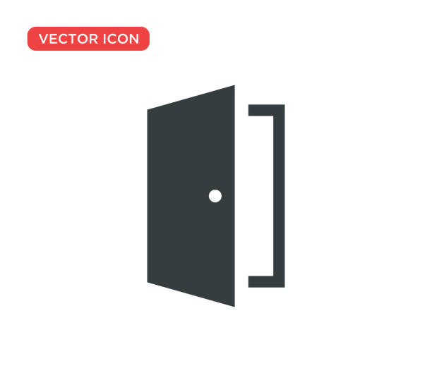 tür-icon-vektor-illustration-design - offen allgemeine beschaffenheit stock-grafiken, -clipart, -cartoons und -symbole