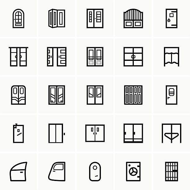 Door icons This image is a vector illustration and can be scaled to any size without loss of resolution, can be variated and used for different compositions. This image is an .eps file and you will need a vector editor to use this file, such as Adobe Illustrator. vehicle door stock illustrations