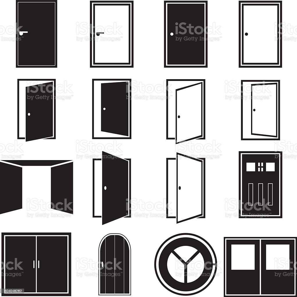 Door Icons vector art illustration