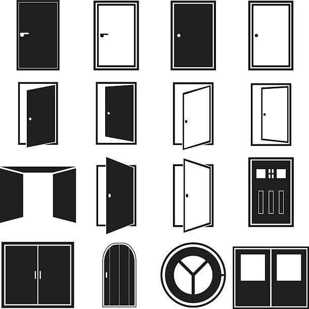 Door Icons Vector illustration of door icons. vehicle door stock illustrations