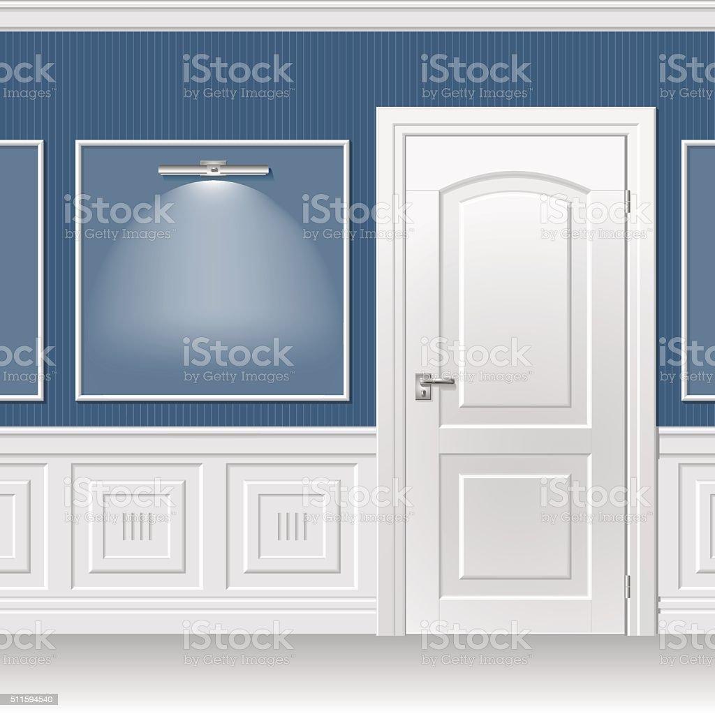 Porta na parede azul - ilustração de arte em vetor