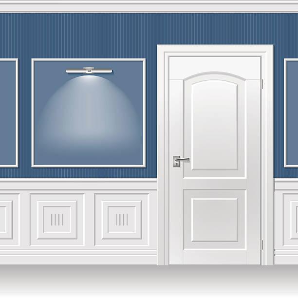 дверь в голубой стене - карниз stock illustrations