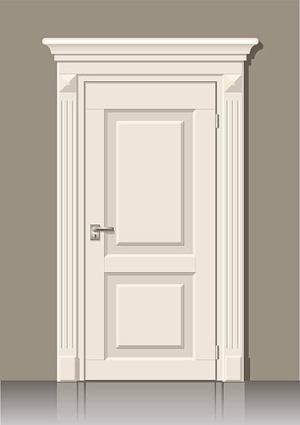дверь в стене - карниз stock illustrations