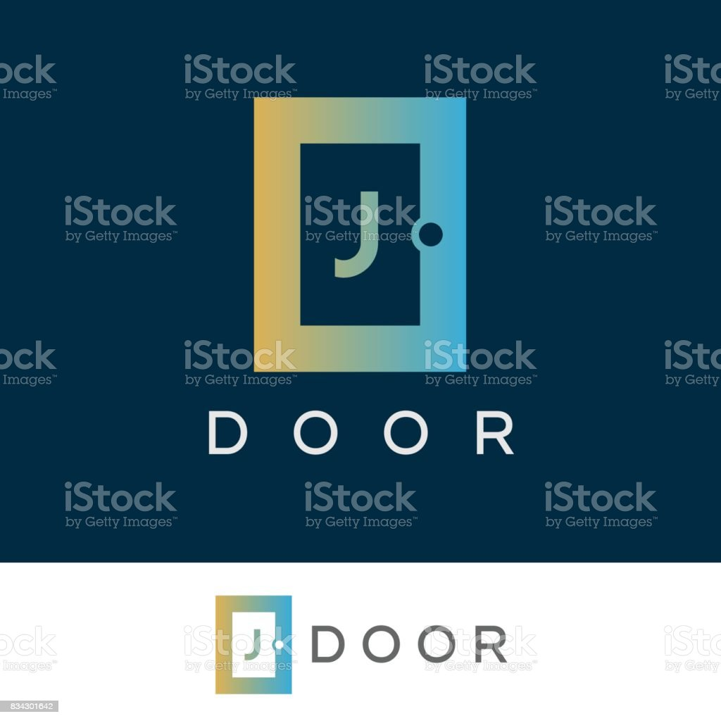 door initial Letter J icon design vector art illustration