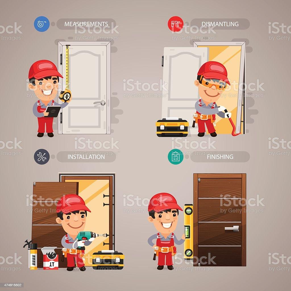 Door Installation with Handyman Carpenter vector art illustration