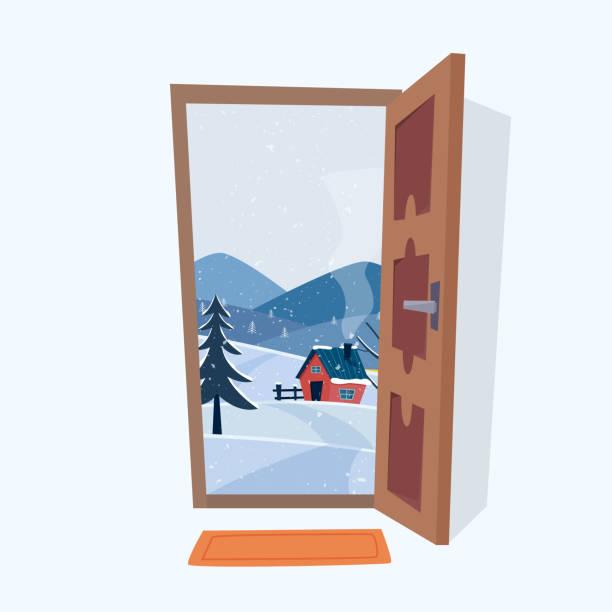 tür in die winterlandschaft. - türposter stock-grafiken, -clipart, -cartoons und -symbole