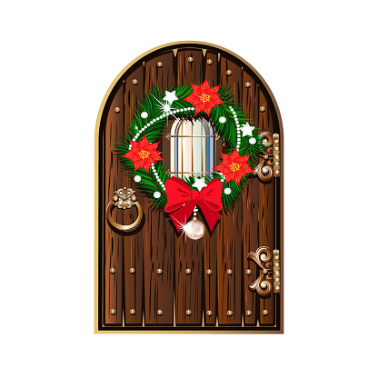 door is decorated for Christmas