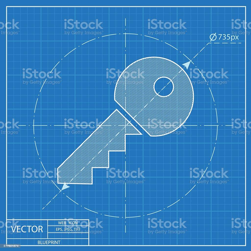 Blueprint Door Vector & Door Key Vector Blueprint Icon Royalty-free