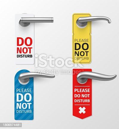 istock Door knob hanger sign different design set. Do not disturb please entrance element. 1306574481