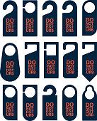 Door knob warning hangers set. Different forms.