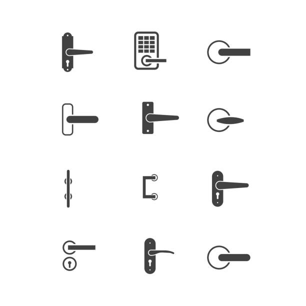 door knobs icon set door knobs icon set knob stock illustrations