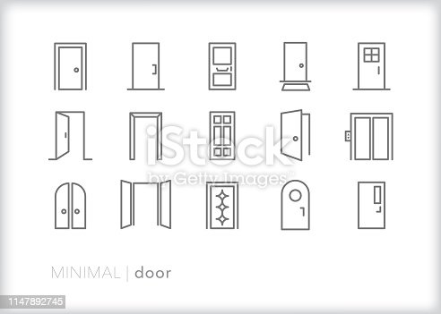 Set of 15 door line icons of open and closed doors for houses, offices, and elevators including double doors, front doors, arched doors and doors with windows