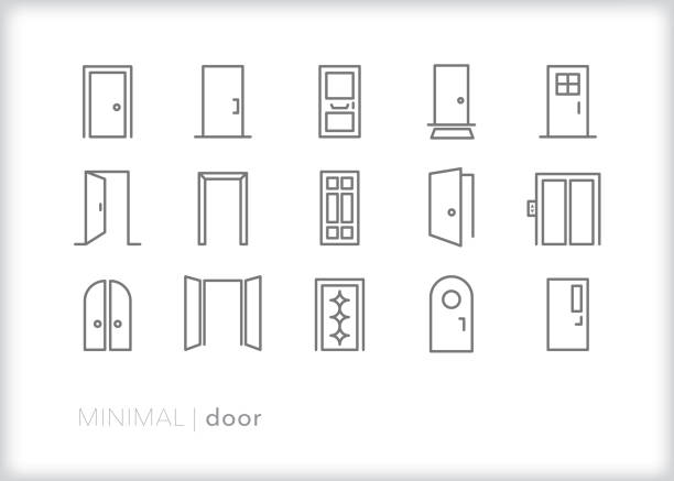 Door line icons for business and home Set of 15 door line icons of open and closed doors for houses, offices, and elevators including double doors, front doors, arched doors and doors with windows door stock illustrations