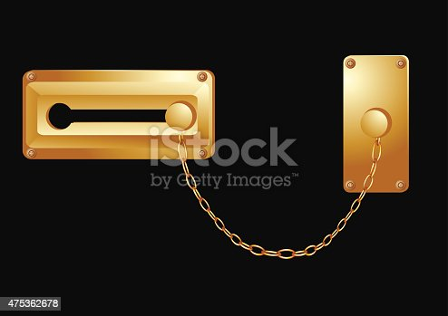 door lock isolated on a black background