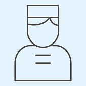 istock Door man thin line icon. Hotel concierge person with cap. Horeca vector design concept, outline style pictogram on white background, use for web and app. Eps 10. 1205576502