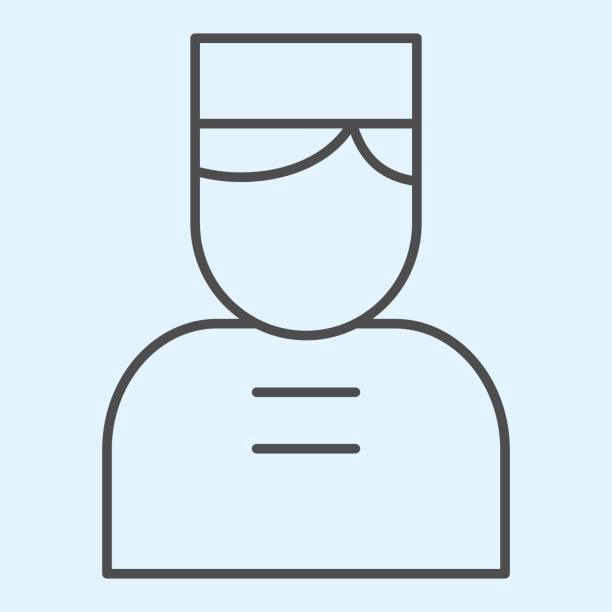 bildbanksillustrationer, clip art samt tecknat material och ikoner med dörrman tunn linje ikon. hotellets concierge person med mössa. horeca vektor designkoncept, disposition stil piktogram på vit bakgrund, användning för webb och app. eps 10. - endast en man