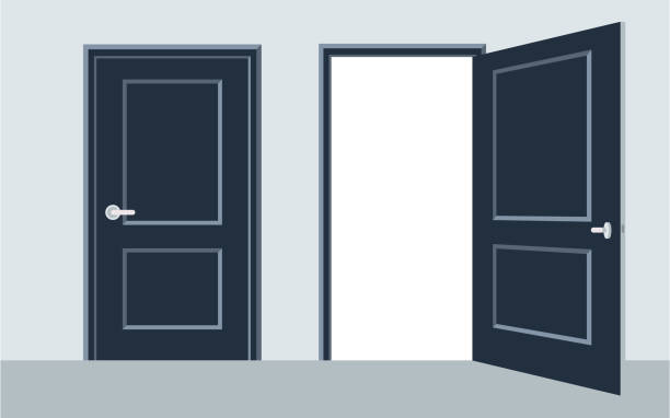 door open and close. Vector illustration, flat design. door open and close. Vector illustration, flat design. door stock illustrations