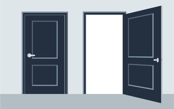 illustrazioni stock, clip art, cartoni animati e icone di tendenza di door open and close. vector illustration, flat design. - near