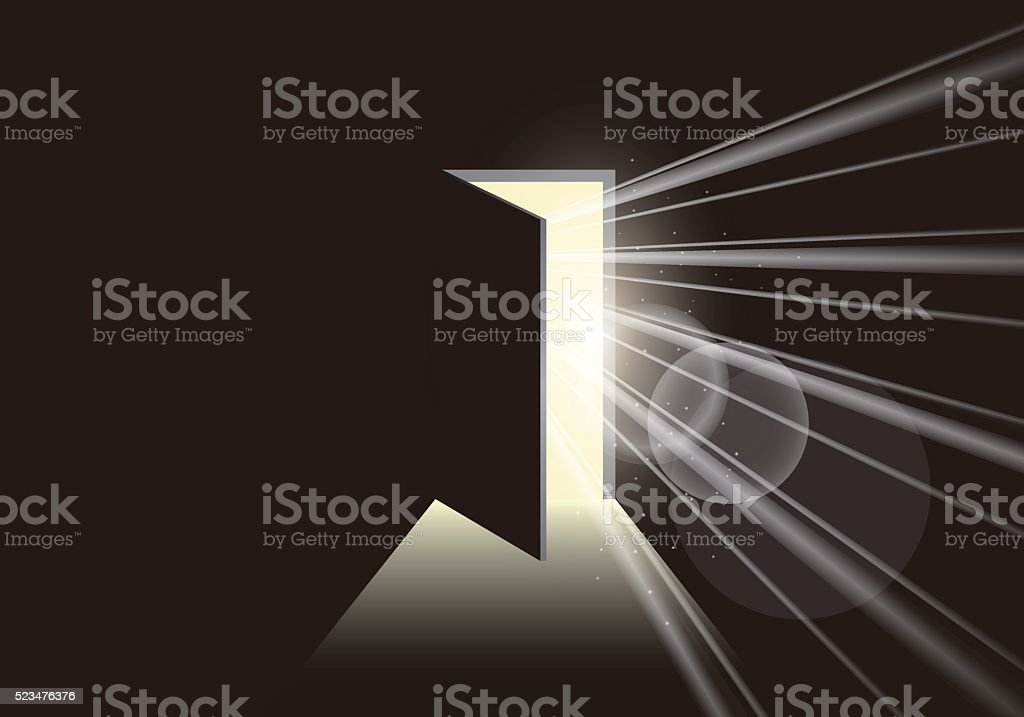 Door opening to show a bright light in the darkness vector art illustration