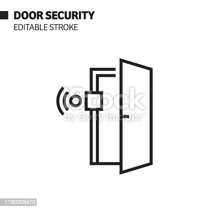 Door Security Line Icon, Outline Vector Symbol Illustration. Pixel Perfect, Editable Stroke.