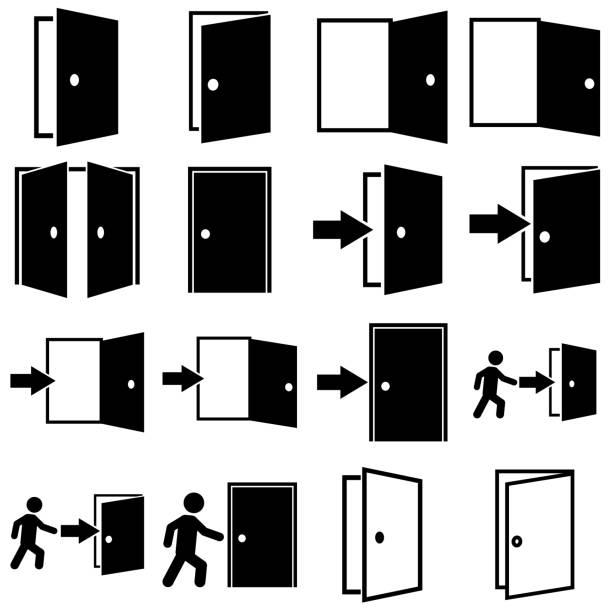 illustrazioni stock, clip art, cartoni animati e icone di tendenza di door set icon, logo isolated on white background - entrare