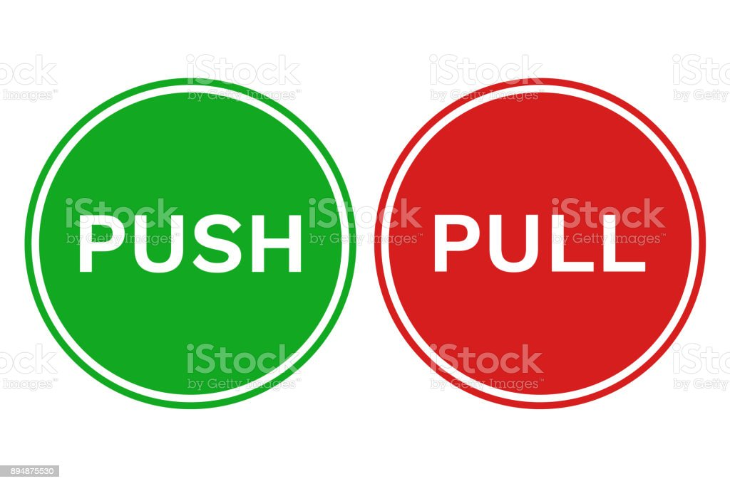 PULL PUSH door signs in green and red circles. Vector icons vector art illustration
