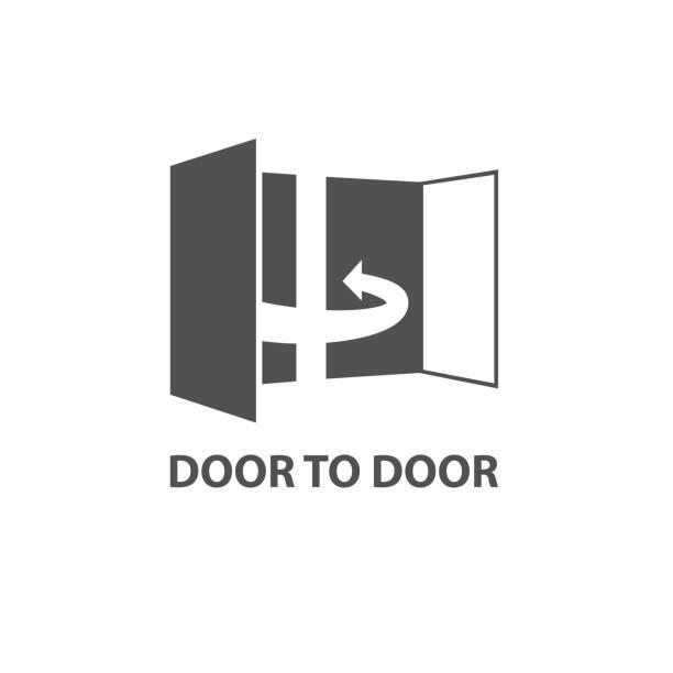 bildbanksillustrationer, clip art samt tecknat material och ikoner med dörr till dörr koncept ikon, dörr 2 dörr - chain studio