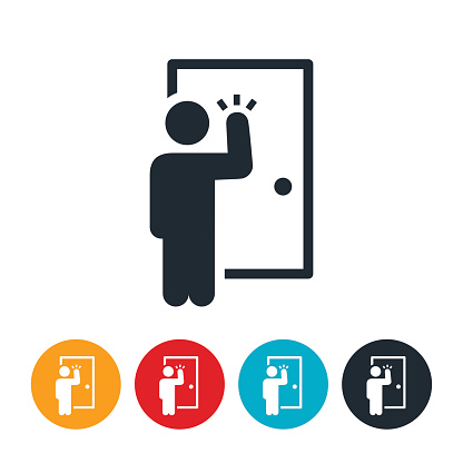 An icon of a door to door salesperson. The person is shown knocking on a door to deliver a sales pitch.