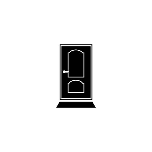 door vector icon Door, Front Door, Entrance, White Color, Vector front door stock illustrations