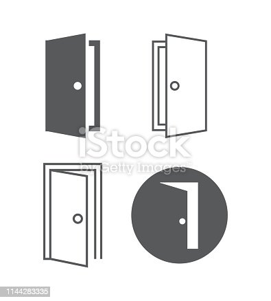 Door vector icons on white background
