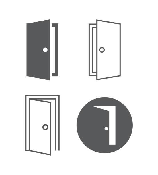 ilustrações, clipart, desenhos animados e ícones de ícones do vetor da porta - portal