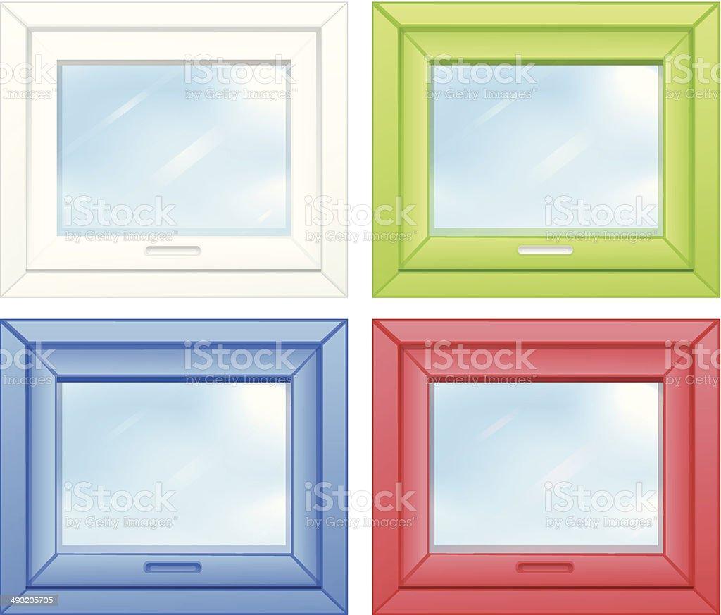 Door windows vector art illustration