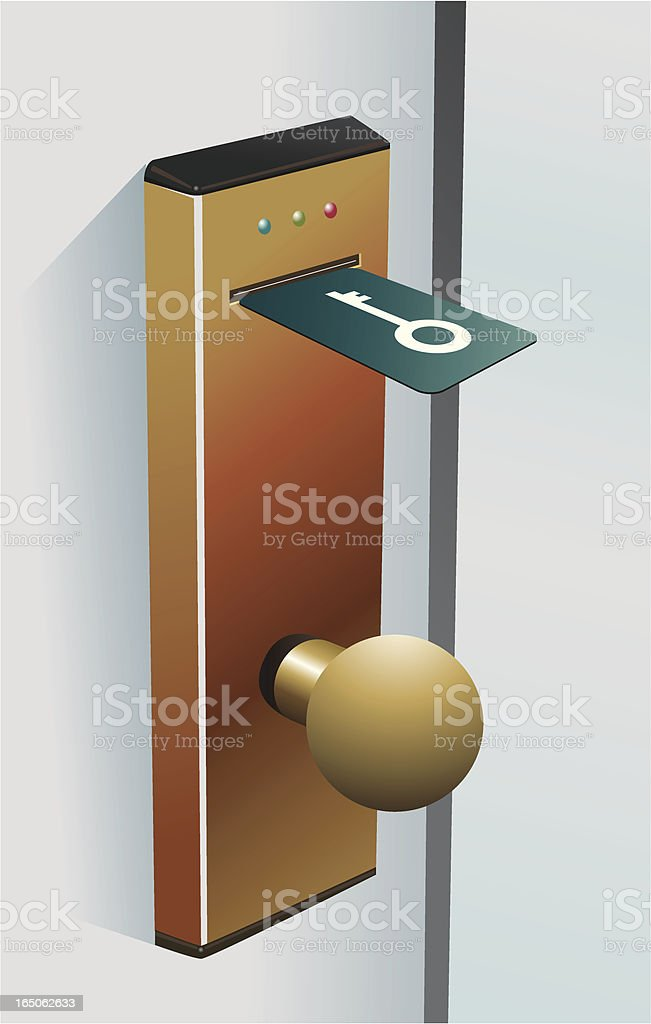 Door with a modern key lock royalty-free stock vector art