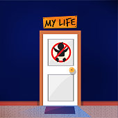 Door with no kid sign. don't won't have kid. married  without children concept. freedom life - vector