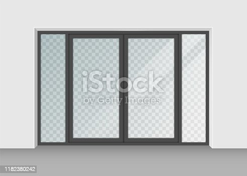 door with transparent glass isolated on background. Vector illustration. Eps 10.
