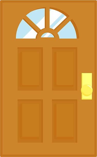 Door with window Vector illustration of a woden door with a window. front door stock illustrations