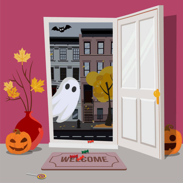 door_halloween Pink interior of house, decorated for Halloween, pumpkins with faces in hallway, vase maple branches, candy on floor. door is open, Ghost looks inside from street with bat. Flat cartoon illustration. spooky halloween town stock illustrations