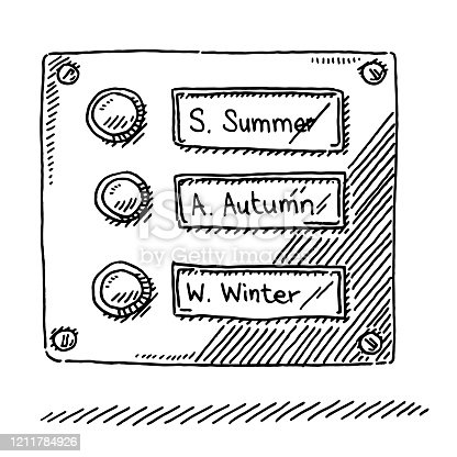 Hand-drawn vector drawing of a Doorbell Sign with Season Names. Black-and-White sketch on a transparent background (.eps-file). Included files are EPS (v10) and Hi-Res JPG.