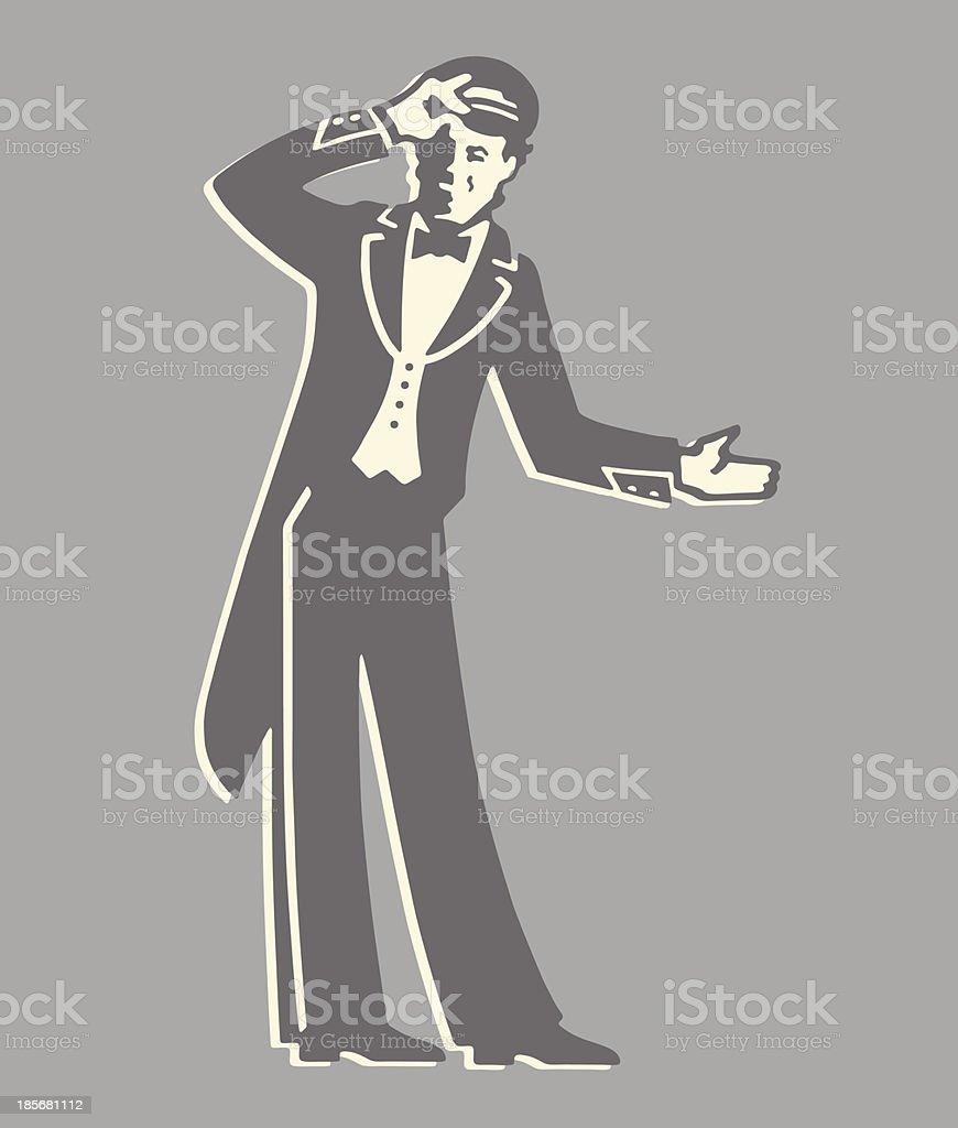 Doorman Gesturing royalty-free stock vector art
