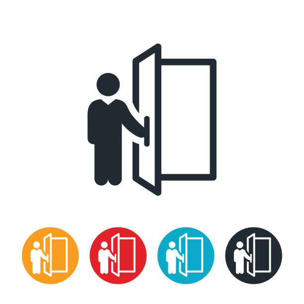 Doorman Icon An icon of a person holding open a door. door stock illustrations