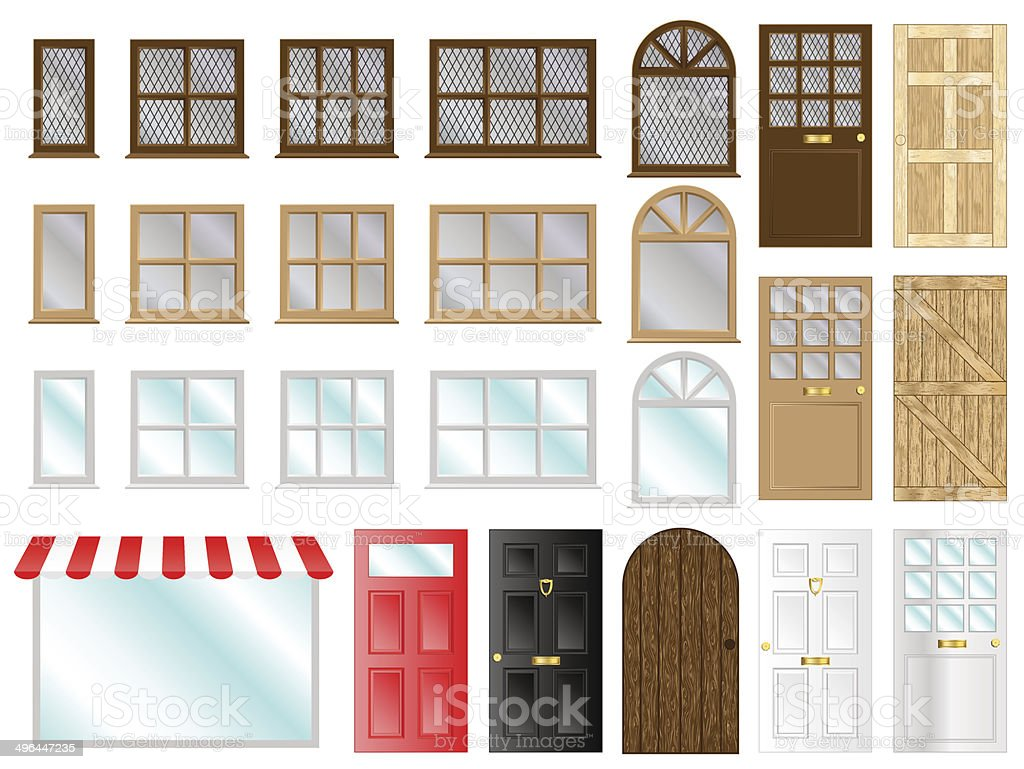 Doors And Windows vector art illustration