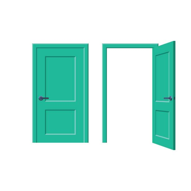 Doors closed and open Doors closed and open. Vector illustration in flat style design, isolated on white background door stock illustrations